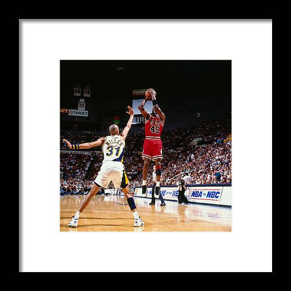 Nba Pro Basketball Framed Print featuring the photograph Reggie Miller and Michael Jordan by Nathaniel S. Butler