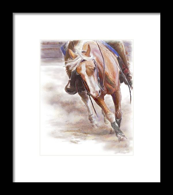 Horse Framed Print featuring the painting Reiner's Grace- Western Reining Horse by Connie Moses