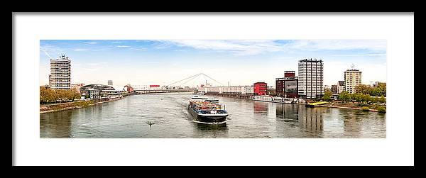 Panoramic Framed Print featuring the photograph Rhine (Rhein) - Ludwigshafen - Mannheim by Achim Lammerts