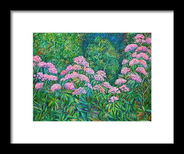 Floral Framed Print featuring the painting Rhododendron Near Black Rock Hill by Kendall Kessler