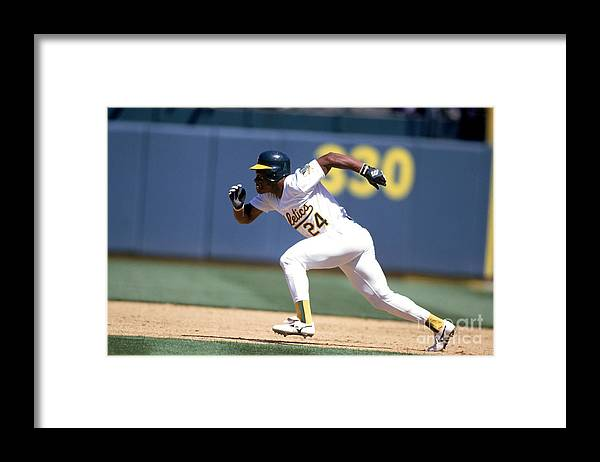 American League Baseball Framed Print featuring the photograph Rickey Henderson by Jeff Carlick