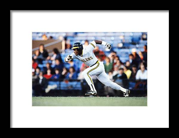 1980-1989 Framed Print featuring the photograph Rickey Henderson by Ronald C. Modra/sports Imagery