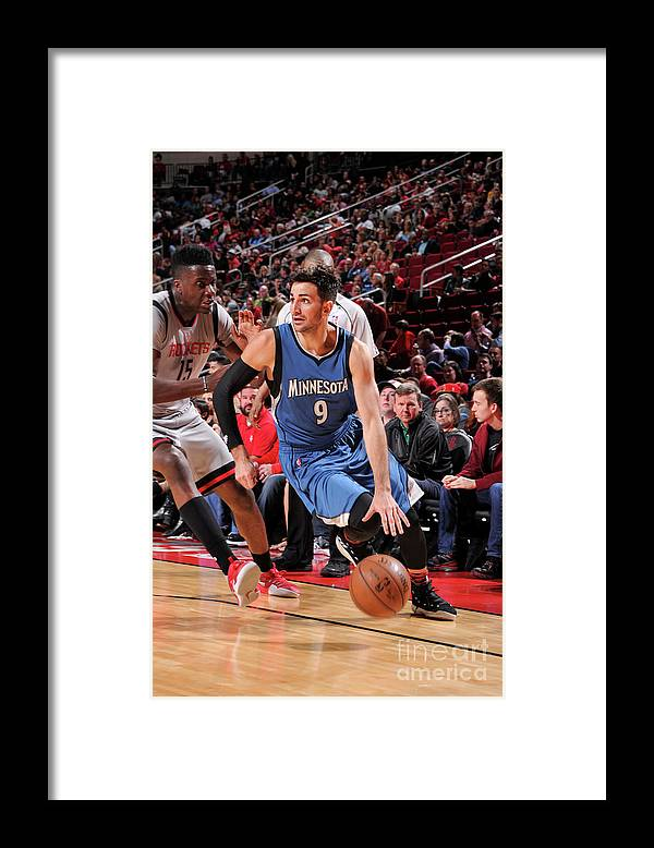 Nba Pro Basketball Framed Print featuring the photograph Ricky Rubio by Bill Baptist