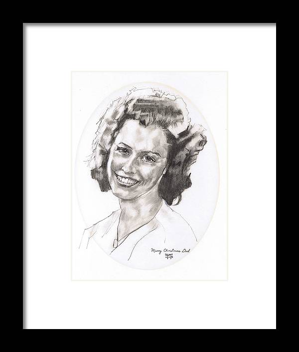 Charcoal Pencil Framed Print featuring the drawing Rita by Sean Connolly