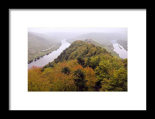 Outdoors Framed Print featuring the photograph River Moselle in Autumn by Bernd Schunack