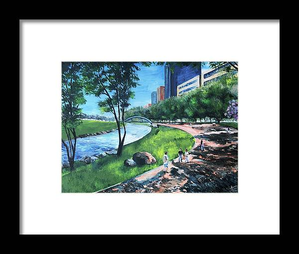 River Framed Print featuring the painting Riverwalk by Lauren Luna