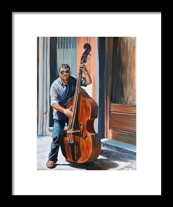 Cello Framed Print featuring the painting Riviera Rhythms- Cello Street Musician by Jennifer Lycke