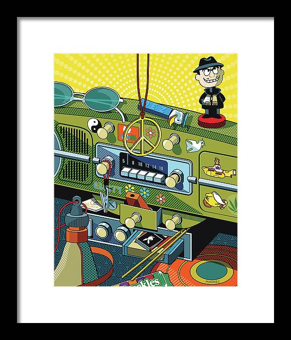 Sixties Framed Print featuring the digital art Road Trip '69 by Ron Magnes