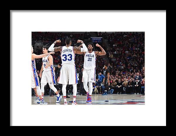 Nba Pro Basketball Framed Print featuring the photograph Robert Covington and Joel Embiid by Jesse D. Garrabrant