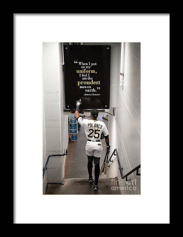 People Framed Print featuring the photograph Roberto Clemente and Gregory Polanco by Justin Berl