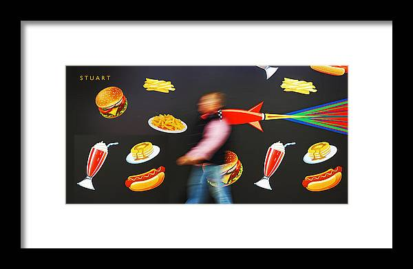 Rocket Framed Print featuring the painting Rocket Lunch by Charles Stuart