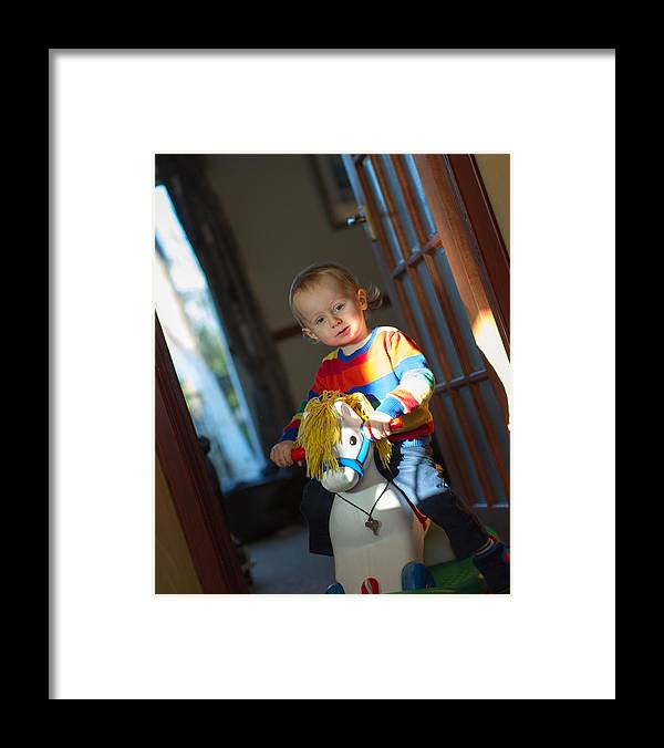 Three Quarter Length Framed Print featuring the photograph Rocking Horse by s0ulsurfing - Jason Swain