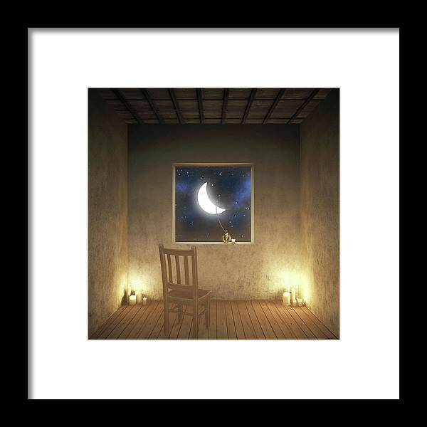 Surreal Framed Print featuring the digital art Room With a View Night by Cynthia Decker