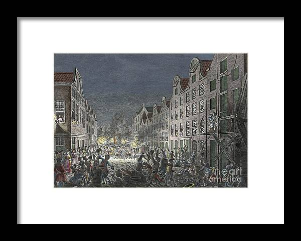 1751 Framed Print featuring the drawing Rotterdam Riot, 1751 by Simon Fokke