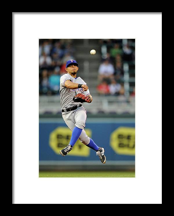 American League Baseball Framed Print featuring the photograph Rougned Odor and Aaron Hicks by Hannah Foslien