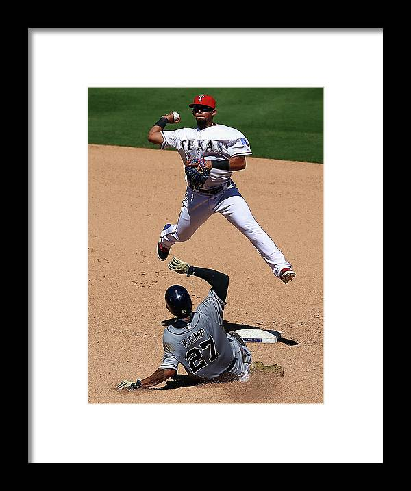 People Framed Print featuring the photograph Rougned Odor and Matt Kemp by Ronald Martinez