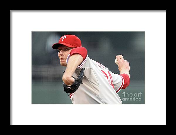 Playoffs Framed Print featuring the photograph Roy Halladay by Ezra Shaw