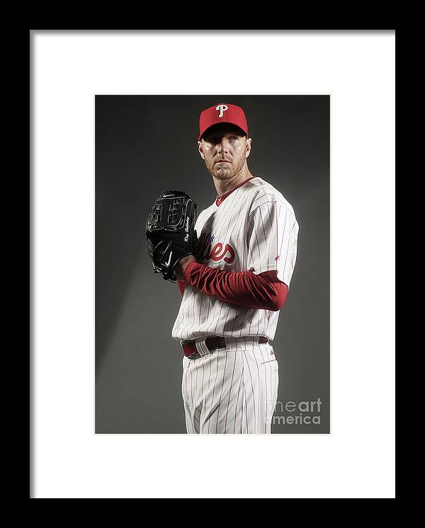 Media Day Framed Print featuring the photograph Roy Halladay by Nick Laham