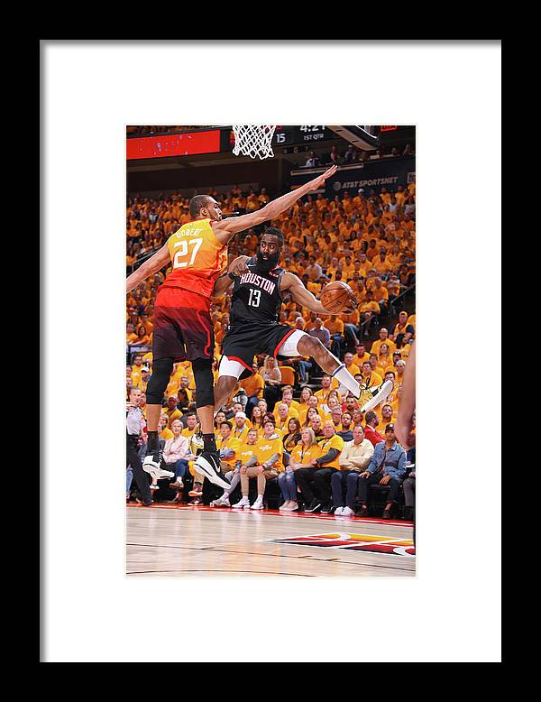 Playoffs Framed Print featuring the photograph Rudy Gobert and James Harden by Bill Baptist