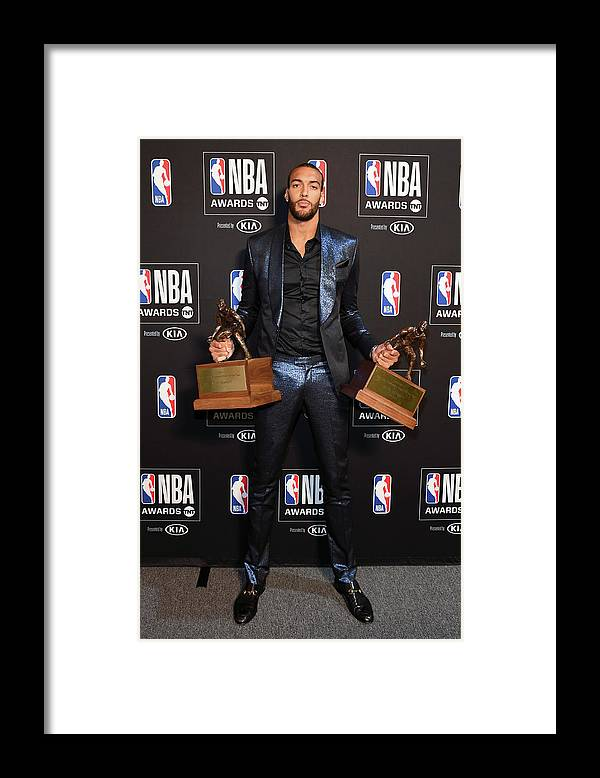 Nba Pro Basketball Framed Print featuring the photograph Rudy Gobert by Juan Ocampo