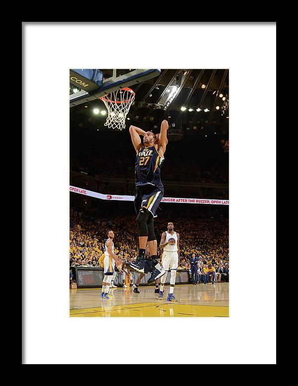Playoffs Framed Print featuring the photograph Rudy Gobert by Noah Graham