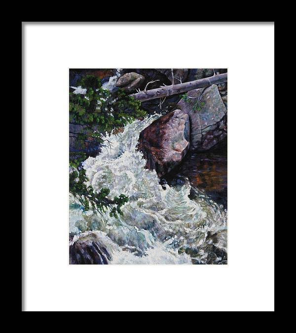 Waterfall Framed Print featuring the painting Rushing Stream Colorado by John Lautermilch