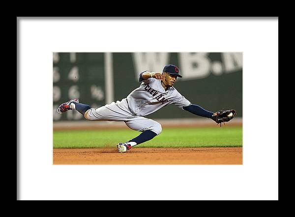 People Framed Print featuring the photograph Rusney Castillo and Francisco Lindor by Jim Rogash