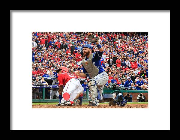 Game Two Framed Print featuring the photograph Russell Martin And Ian Desmond by Scott Halleran