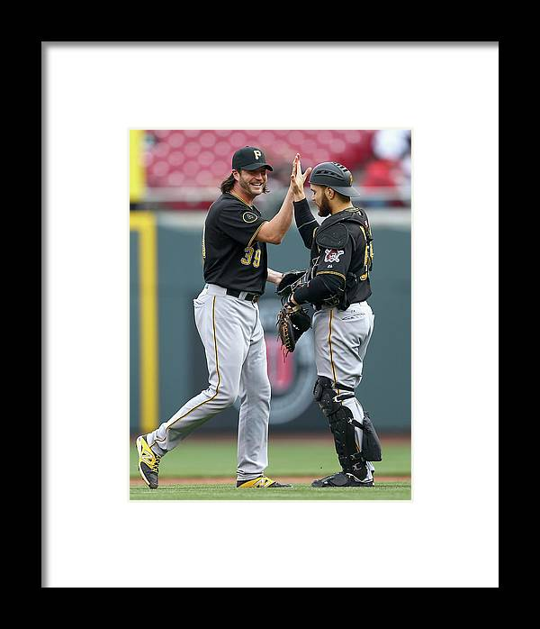 Great American Ball Park Framed Print featuring the photograph Russell Martin And Jason Grilli by Andy Lyons