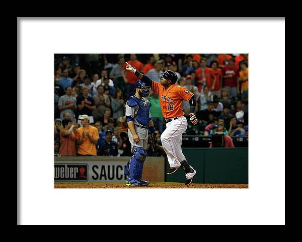 People Framed Print featuring the photograph Russell Martin and Luis Valbuena by Scott Halleran