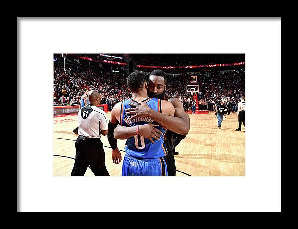 Nba Pro Basketball Framed Print featuring the photograph Russell Westbrook and James Harden by Bill Baptist