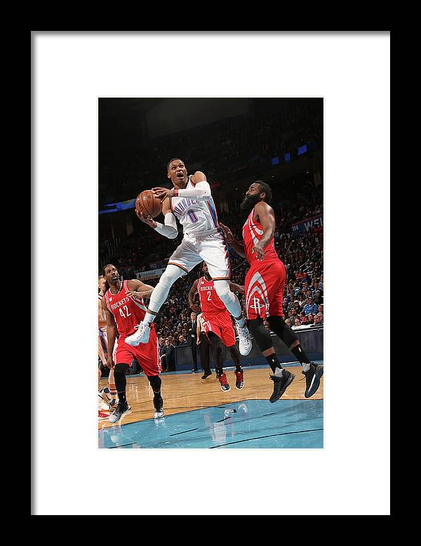 Nba Pro Basketball Framed Print featuring the photograph Russell Westbrook and James Harden by Layne Murdoch