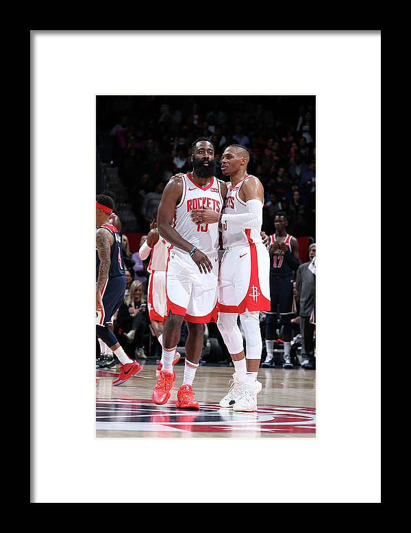 Nba Pro Basketball Framed Print featuring the photograph Russell Westbrook and James Harden by Stephen Gosling