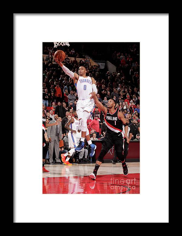 Nba Pro Basketball Framed Print featuring the photograph Russell Westbrook by Cameron Browne