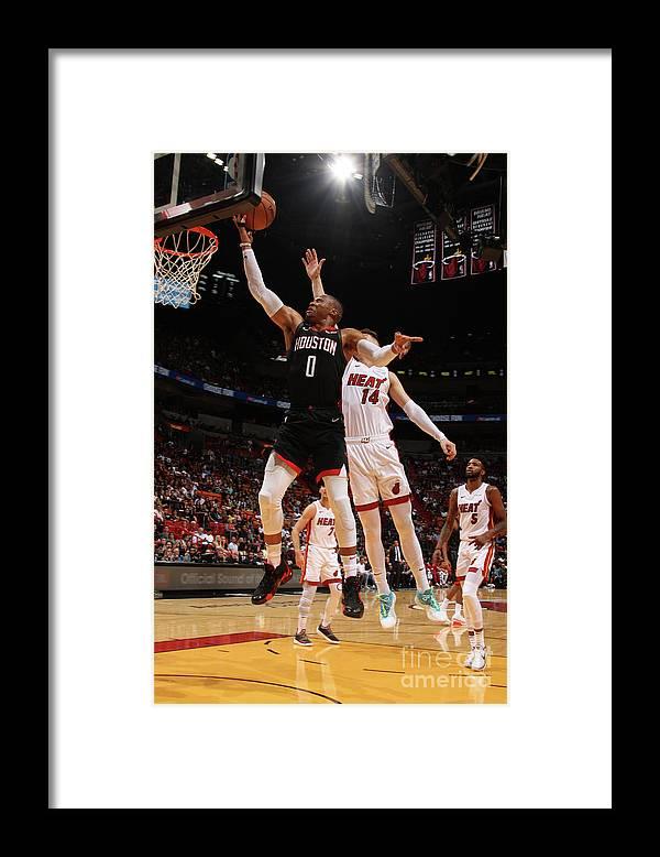 Nba Pro Basketball Framed Print featuring the photograph Russell Westbrook by Oscar Baldizon