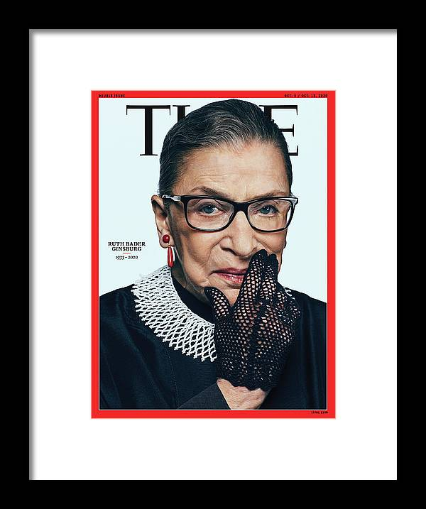 Ruth Bader Ginsburg Framed Print featuring the photograph Ruth Bader Ginsburg 1933-2020 by Photograph by Sebastian Kim--AUGUST for TIME