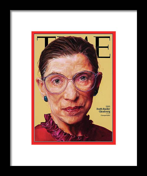 Time Framed Print featuring the photograph Ruth Bader Ginsburg, 1996 by Painting by Shana Wilson for TIME