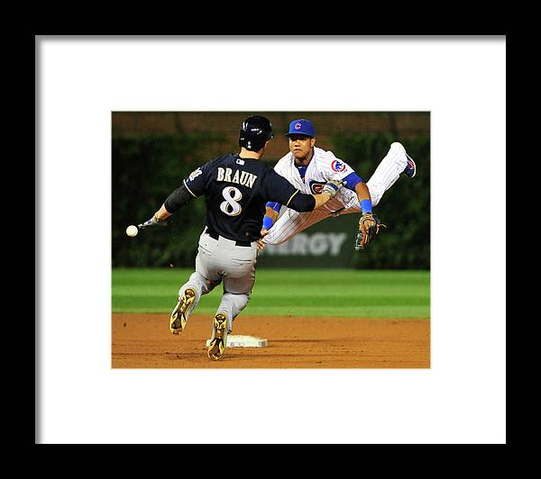 Ninth Inning Framed Print featuring the photograph Ryan Braun and Starlin Castro by David Banks