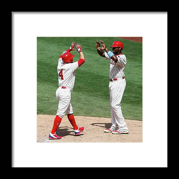 People Framed Print featuring the photograph Ryan Howard and Andres Blanco by Brian Garfinkel