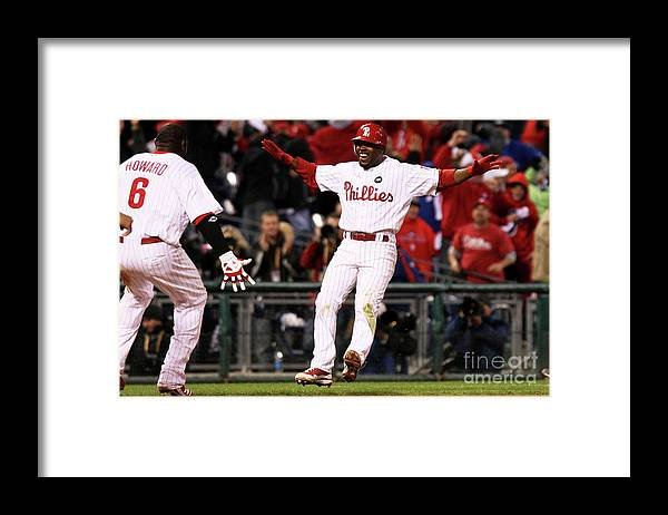 Playoffs Framed Print featuring the photograph Ryan Howard and Jimmy Rollins by Nick Laham