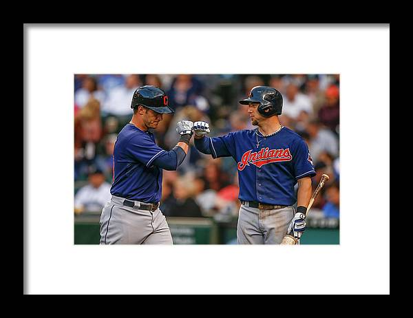 American League Baseball Framed Print featuring the photograph Ryan Raburn and Yan Gomes by Otto Greule Jr