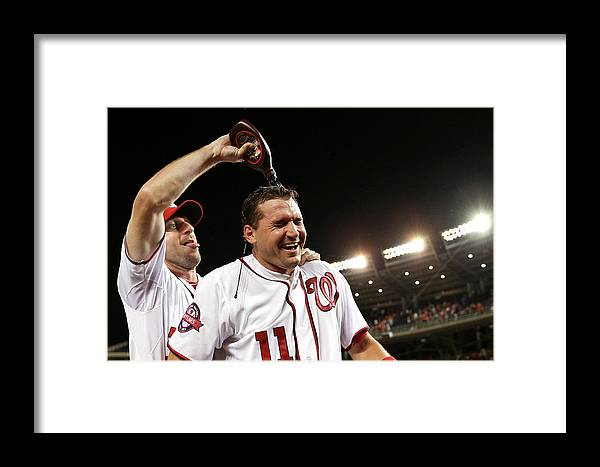 People Framed Print featuring the photograph Ryan Zimmerman And Max Scherzer by Patrick Smith