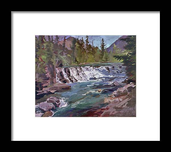 Glacier Nat'l Park Sacred Dancing Water Falls Framed Print featuring the painting Sacred Dancing Glacier by Betty Jean Billups