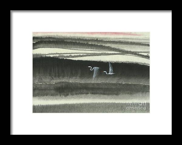 Two Cranes Flying In The Still Of The Night Over The Quiet River. This Is A Contemporary Chinese Ink And Watercolor On Rice Paper Painting. Framed Print featuring the painting Sailing Through the Night by Mui-Joo Wee