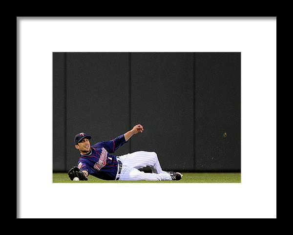American League Baseball Framed Print featuring the photograph Sam Fuld and Alcides Escobar by Hannah Foslien