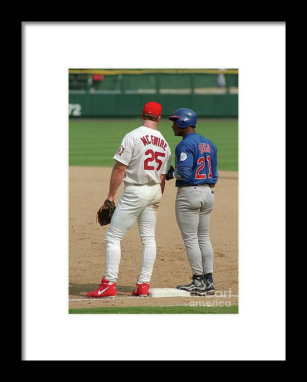 St. Louis Cardinals Framed Print featuring the photograph Sammy Sosa and Mark Mcgwire by Icon Sports Wire