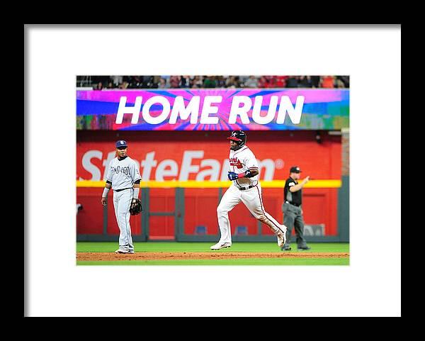 Atlanta Framed Print featuring the photograph San Diego Padres v Atlanta Braves by Scott Cunningham