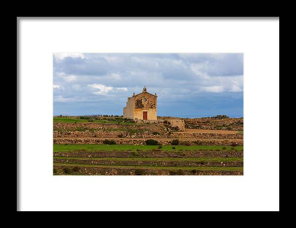 Scenics Framed Print featuring the photograph San Dimitri chapel against a cloudy backdrop, Gozo Malta by Flottmynd