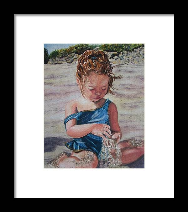Beach Framed Print featuring the painting Sand by Karen Ilari