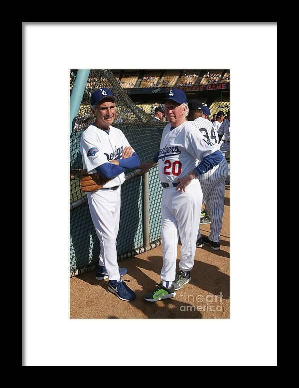 Sandy Koufax Framed Print featuring the photograph Sandy Koufax and Don Sutton by Stephen Dunn